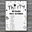Thirty BIRTHDAY WORD SCRAMBLE Game,Adult Birthday Game,INSTANT DOWNLOAD--41
