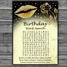 Gold lips birthday word search game,Adult Birthday Game,INSTANT DOWNLOAD--37