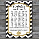 Black White Chevron birthday word search game,Adult Birthday Game,INSTANT DOWNLOAD--38
