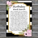 Black White Striped birthday word search game,Adult Birthday Game,INSTANT DOWNLOAD--39