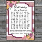 Rose Striped birthday word search game,Adult Birthday Game,INSTANT DOWNLOAD--40