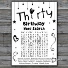 Thirty birthday word search game,Adult Birthday Game,INSTANT DOWNLOAD--41