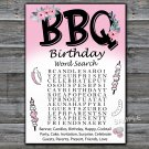 BBQ birthday word search game,Adult Birthday Game,INSTANT DOWNLOAD--44