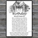 Bow Tie birthday word search game,Adult Birthday Game,INSTANT DOWNLOAD--46