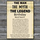 The man The myth The legend birthday word search game,Adult Birthday Game,INSTANT DOWNLOAD--48