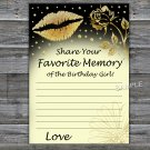 Gold lips Favorite Memory of the Birthday Girl,Adult Birthday Game,INSTANT DOWNLOAD--37