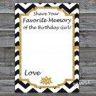 Black White Chevron Favorite Memory of the Birthday Girl,Adult Birthday Game,INSTANT DOWNLOAD--38