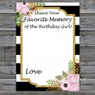 Black White Striped Favorite Memory of the Birthday Girl,Adult Birthday Game,INSTANT DOWNLOAD--39