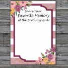 Rose Striped Favorite Memory of the Birthday Girl,Adult Birthday Game,INSTANT DOWNLOAD--40