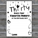 Thirty Favorite Memory of the Birthday Girl,Adult Birthday Game,INSTANT DOWNLOAD--41