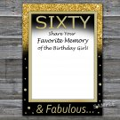 Sixty Favorite Memory of the Birthday Girl,Adult Birthday Game,INSTANT DOWNLOAD--42