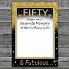 Fifty Favorite Memory of the Birthday Girl,Adult Birthday Game,INSTANT DOWNLOAD--43