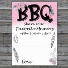 BBQ Favorite Memory of the Birthday Girl,Adult Birthday Game,INSTANT DOWNLOAD--44