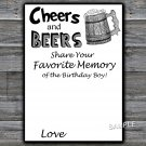 Cheers and Beers Favorite Memory of the Birthday Boy,Adult Birthday Game,INSTANT DOWNLOAD--47