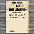 The man The myth The legend Favorite Memory of the Birthday Boy,INSTANT DOWNLOAD--48