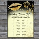 Gold lips this or that birthday game,Adult Birthday Game,INSTANT DOWNLOAD--37