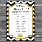 Black White Chevron this or that birthday game,Adult Birthday Game,INSTANT DOWNLOAD--38
