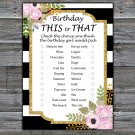 Black White Striped this or that birthday game,Adult Birthday Game,INSTANT DOWNLOAD--39