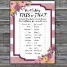 Rose Striped this or that birthday game,Adult Birthday Game,INSTANT DOWNLOAD--40