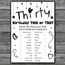 Thirty this or that birthday game,Adult Birthday Game,INSTANT DOWNLOAD--41