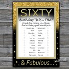 Sixty this or that birthday game,Adult Birthday Game,INSTANT DOWNLOAD--42