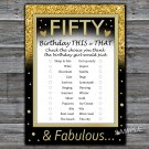 Fifty this or that birthday game,Adult Birthday Game,INSTANT DOWNLOAD--43