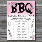 BBQ this or that birthday game,Adult Birthday Game,INSTANT DOWNLOAD--44