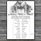 Bow Tie this or that birthday game,Adult Birthday Game,INSTANT DOWNLOAD--46
