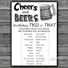 Cheers and Beers this or that birthday game,Adult Birthday Game,INSTANT DOWNLOAD--47