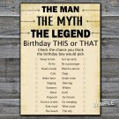 The man The myth The legend this or that birthday game,Adult Birthday Game,INSTANT DOWNLOAD--48