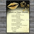 Gold lips What's in your phone game,Adult Birthday Game,INSTANT DOWNLOAD--37