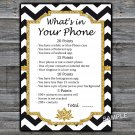 Black White Chevron What's in your phone game,Adult Birthday Game,INSTANT DOWNLOAD--38
