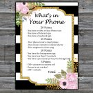 Black White Striped What's in your phone game,Adult Birthday Game,INSTANT DOWNLOAD--39