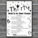 Thirty What's in your phone game,Adult Birthday Game,INSTANT DOWNLOAD--41