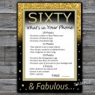 Sixty What's in your phone game,Adult Birthday Game,INSTANT DOWNLOAD--42
