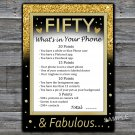 Fifty What's in your phone game,Adult Birthday Game,INSTANT DOWNLOAD--43