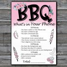 BBQ What's in your phone game,Adult Birthday Game,INSTANT DOWNLOAD--44
