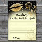 Gold lips Wishes for the birthday girl,Wishes Party Game,Adult Birthday Game,INSTANT DOWNLOAD--37