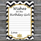 Black White Chevron Wishes for the birthday girl,Adult Birthday Game,INSTANT DOWNLOAD--38