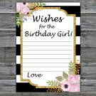 Black White Striped Wishes for the birthday girl,Adult Birthday Game,INSTANT DOWNLOAD--39
