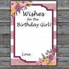 Rose Striped Wishes for the birthday girl,Adult Birthday Game,INSTANT DOWNLOAD--40
