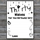 Thirty Wishes for the birthday girl,Adult Birthday Game,INSTANT DOWNLOAD--41