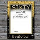 Sixty Wishes for the birthday girl,Adult Birthday Game,INSTANT DOWNLOAD--42