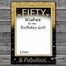Fifty Wishes for the birthday girl,Adult Birthday Game,INSTANT DOWNLOAD--43