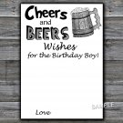 Cheers and Beers Wishes for the birthday boy,Adult Birthday Game,INSTANT DOWNLOAD--47