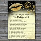 Gold lips How well do you know the birthday girl,Adult Birthday Game,INSTANT DOWNLOAD--37