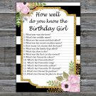 Black White Striped How well do you know the birthday girl,Adult Birthday Game,INSTANT DOWNLOAD--39