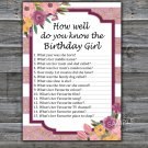 Rose Striped How well do you know the birthday girl,Adult Birthday Game,INSTANT DOWNLOAD--40