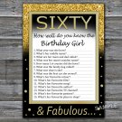 Sixty How well do you know the birthday girl,Adult Birthday Game,INSTANT DOWNLOAD--42