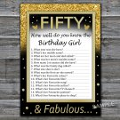 Fifty How well do you know the birthday girl,Adult Birthday Game,INSTANT DOWNLOAD--43
